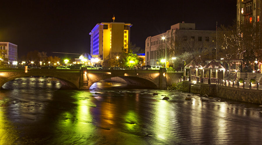 Truckee River Downtown Reno Night Photo